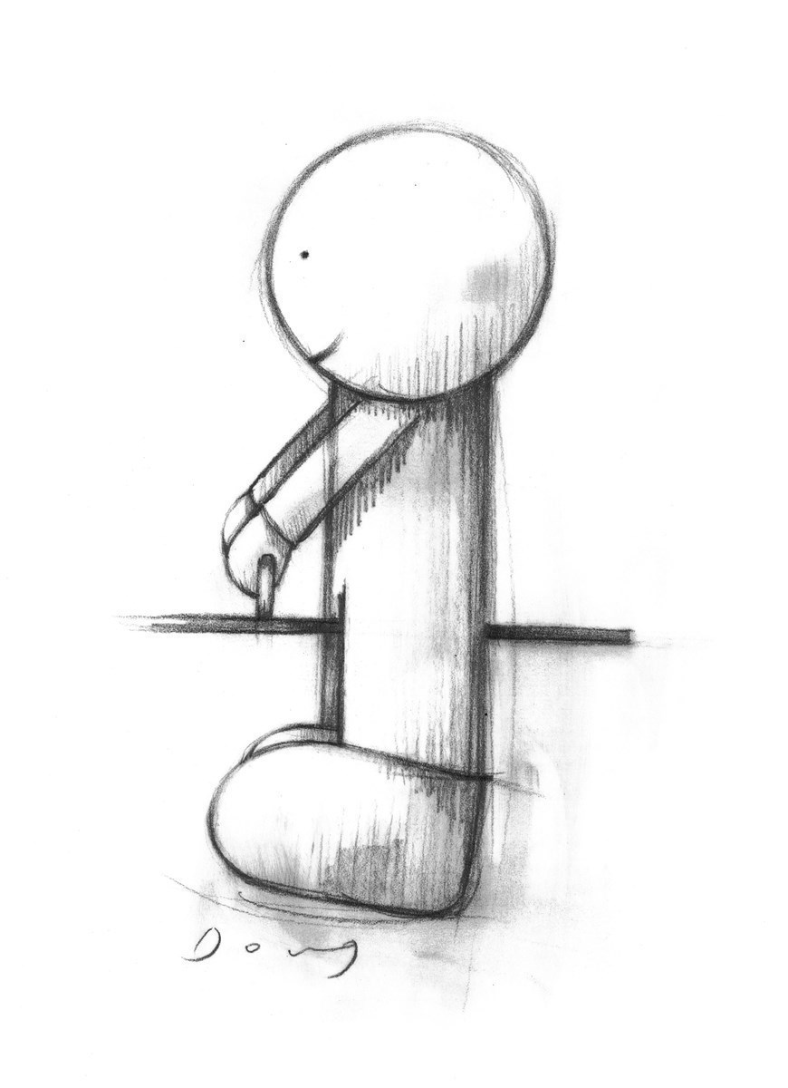 Love From A Distance Final Right Pose Study by Doug Hyde -  sized 9x6 inches. Available from Whitewall Galleries
